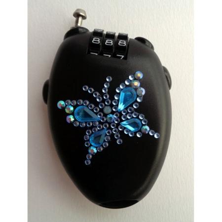 SILWAX Antifurto per Borsetta Nero con Farfalla Azzurra