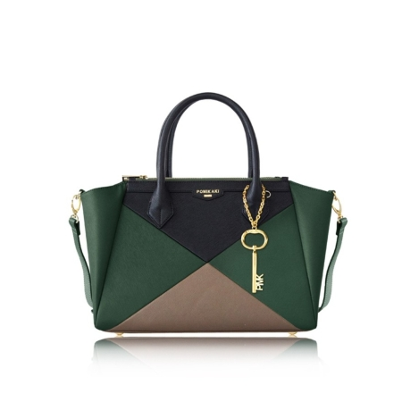 POMIKAKI Borsa a Mano CHRISTIE CR12-I16G05 Green/Black/Grey