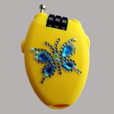 SILWAX Antifurto per Borsetta Giallo con Farfalla Azzurra A6