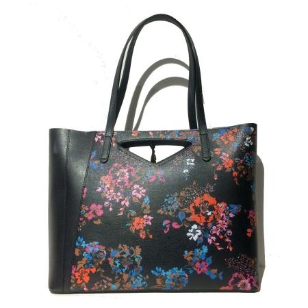 GIANNI CHIARINI Borsa Shopping Floralia NYL Nero
