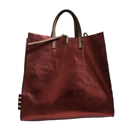 MANILA GRACE Medium Tote Felicia Bag Borgogna Metal