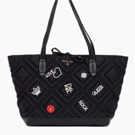PATRIZIA PEPE Shopping Bag con Applicazioni QUILTED 2V7821 A3YN-K324 Satin Black