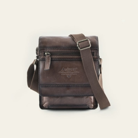 AVIREX Cross body bag small with flap WILDFIRE WLD-21967-BW Brown