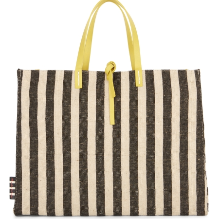 MANILA GRACE Big Tote FELICIA CANVAS P8WW01397 Rigato Nero/Ecru