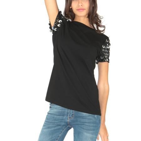MIMI' MUA' Firenze T-Shirt PAILLETTES SFE8-1040 Nero