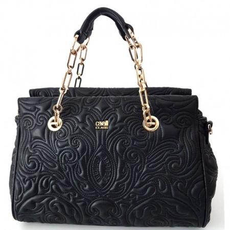 Roberto Cavalli Class Medium Handbag Blossom CRC004 Black